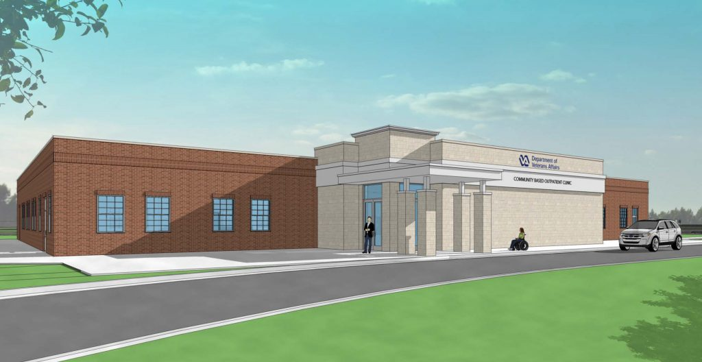 Conceptual Rendering of Community-Based Outpatient Clinic at Fort Knox, KY. Designer of Record: American Structurepoint