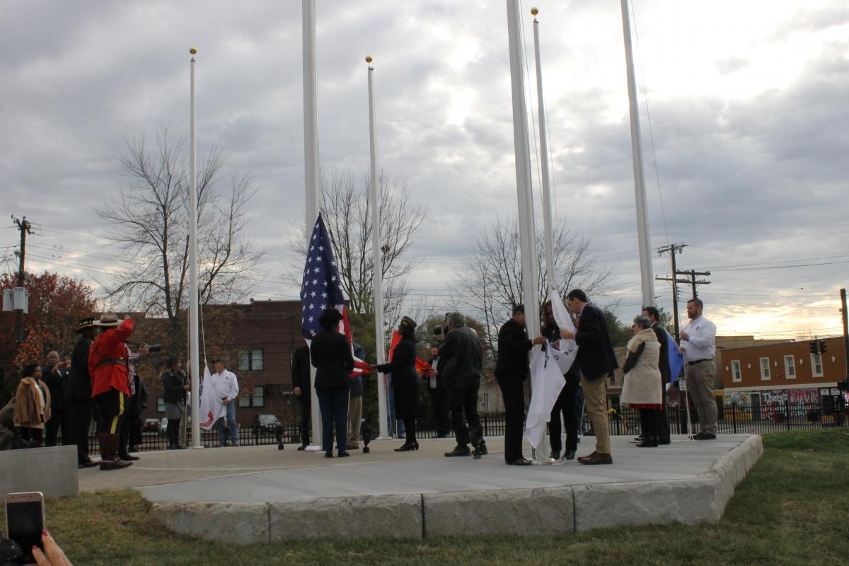 Flags being raised