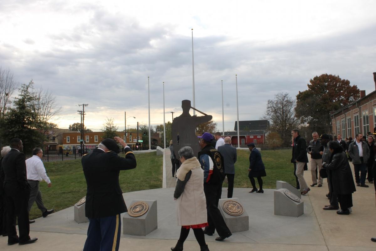 Memorial before Flags